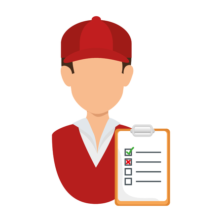 delivery worker with checklist vector illustration design