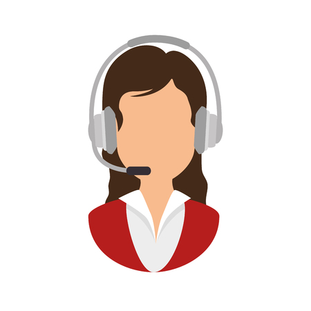 call center receptionist avatar vector illustratie ontwerp
