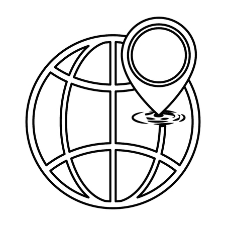 planet sphere with pointer location vector illustration design