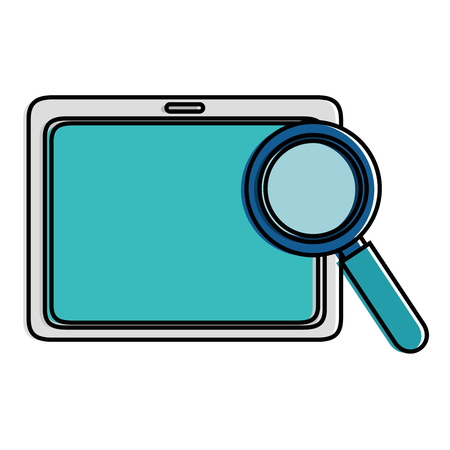 tablet device with magnifying glass vector illustration design