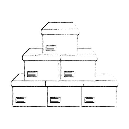 boxes carton isolated icon vector illustration design
