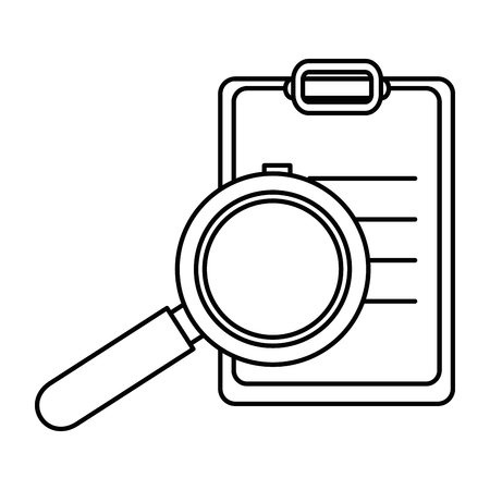 checklist clipboard with magnifying glass vector illustration design