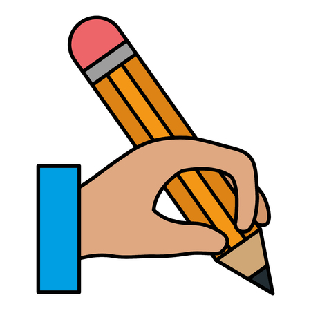 hand human with pencil school isolated icon vector illustration design