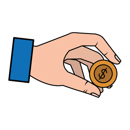 hand human with coin vector illustration design Illustration