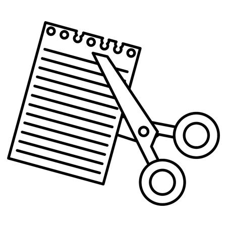 Le forbici hanno tagliato con progettazione dell'illustrazione di vettore dello strato del taccuino Archivio Fotografico - 88228126