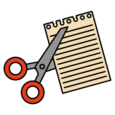 scissors cut with notebook sheet vector illustration design 向量圖像