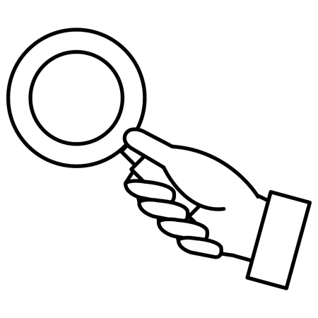 Hand human with magnifying glass. Stok Fotoğraf - 88236069
