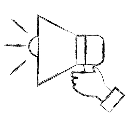 Hand human with megaphone sound isolated icon vector illustration design