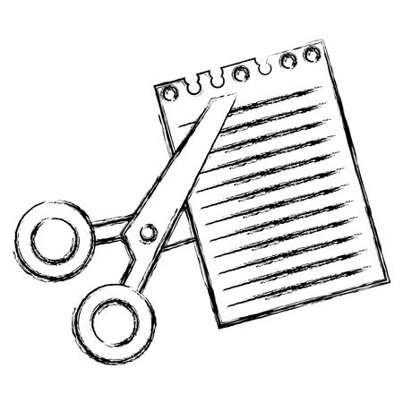 Le forbici hanno tagliato con progettazione dell'illustrazione di vettore dello strato del taccuino Archivio Fotografico - 88228528