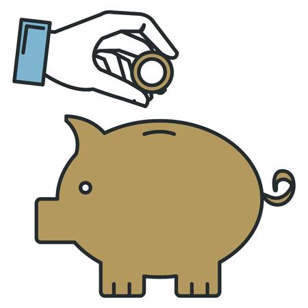 hand human with piggy savings isolated icon vector illustration design Ilustracja