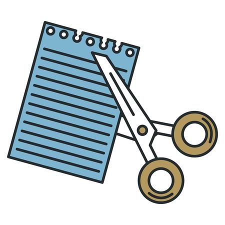 scissors cut with notebook sheet vector illustration design Illustration