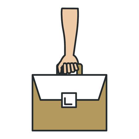 hand human with portfolio briefcase isolated icon vector illustration design