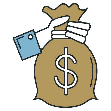 돈 가방 격리 된 아이콘 벡터 일러스트 디자인으로 손을 인간 스톡 콘텐츠 - 88451425