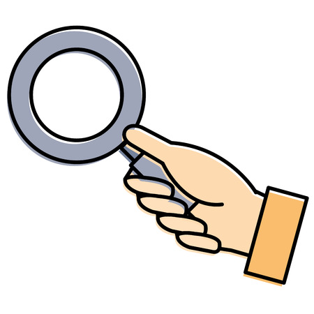 hand human with magnifying glass isolated icon vector illustration design Illustration