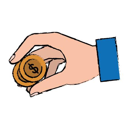 コイン ベクトル イラスト デザインと人間の手