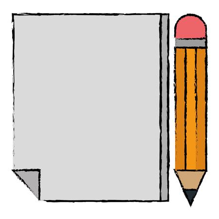 연필 벡터 일러스트 디자인으로 종이 문서 일러스트