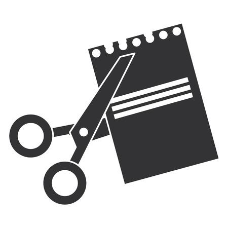 Le forbici hanno tagliato con progettazione dell'illustrazione di vettore dello strato del taccuino Archivio Fotografico - 88452585