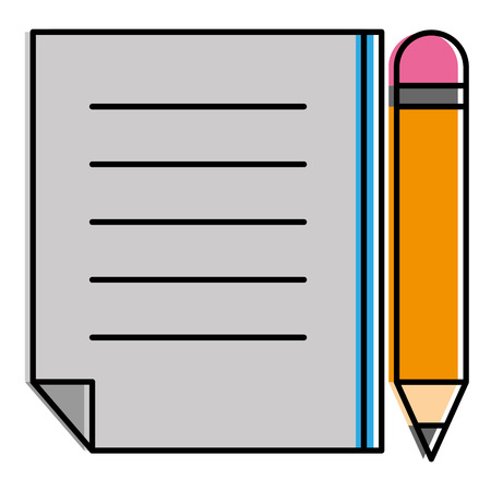 paper document with pencil vector illustration design 向量圖像