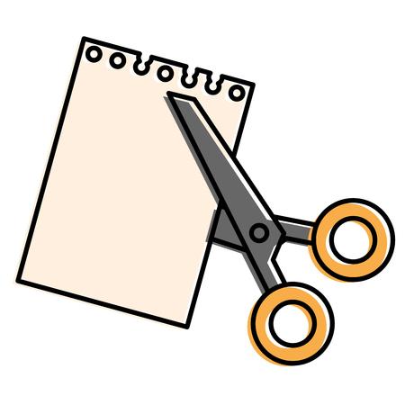 schaar die met vector de illustratieontwerp van het notitieboekjeblad wordt gesneden
