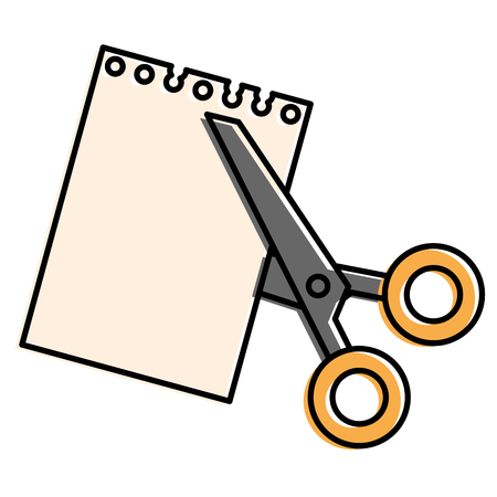 scissors cut with notebook sheet vector illustration design Illustration