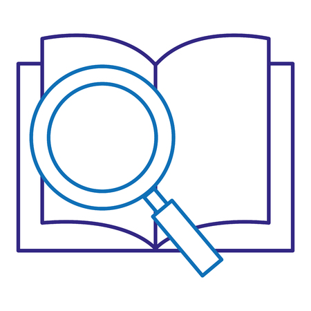 text book school with magnifying glass vector illustration design