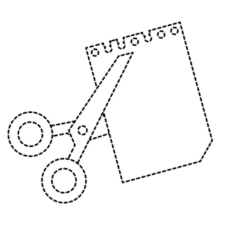 A scissors cut with notebook sheet vector illustration design