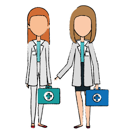 medical staff with kit avatars characters vector illustration design