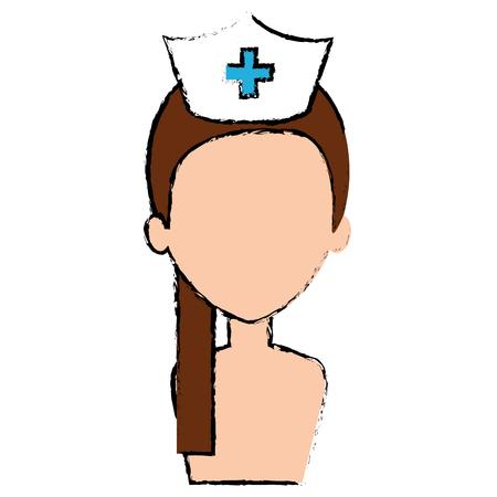 beutiful nurse shirtless avatar character vector illustration design