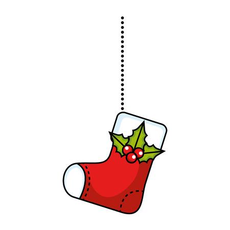 merry christmas socks decorative hanging vector illustration design Illustration