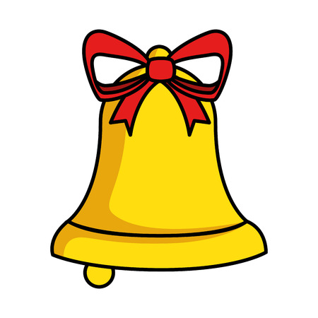 merry christmas bell decorative with bow vector illustration design Illusztráció