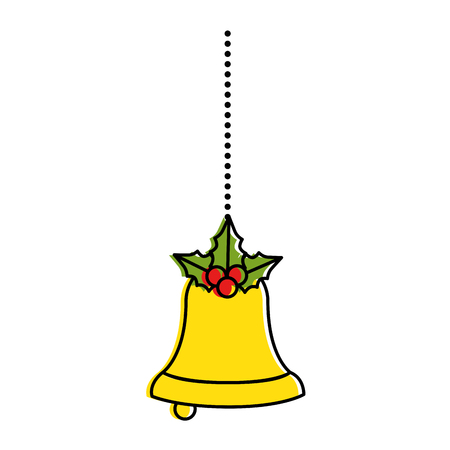 merry christmas bell decorative with bow hanging vector illustration design Illustration