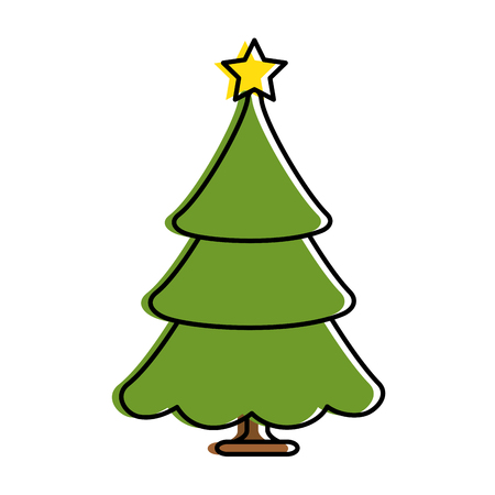 merry christmas pine tree vector illustration design