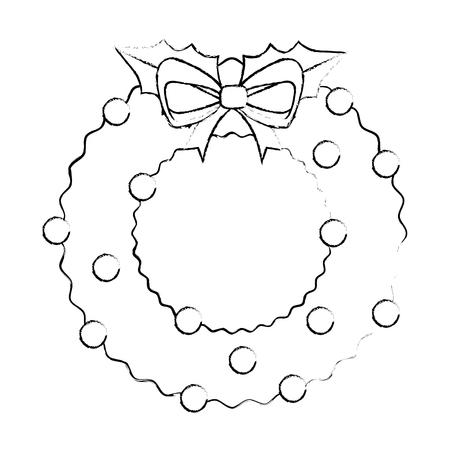 merry christmas wreath crown vector illustration design