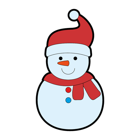 cute snowman character icon vector illustration design