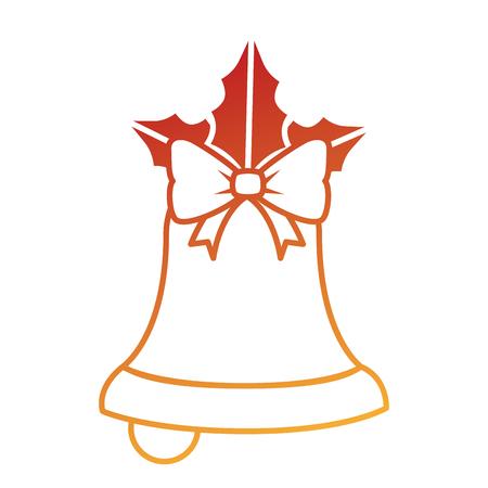 merry christmas bell decorative with bow vector illustration design Ilustração