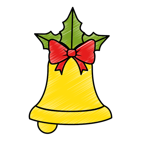 merry christmas bell decorative with bow vector illustration design Illustration