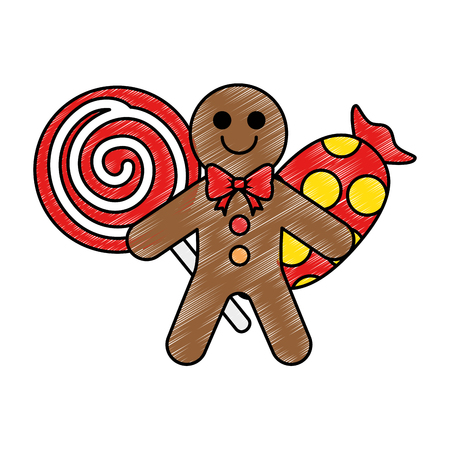 set candies sweet christmas vector illustration design