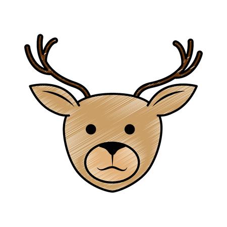 cute reindeer character icon vector illustration design Illustration