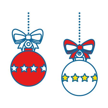 merry christmas balls decorative vector illustration design