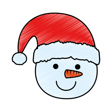 cute snowman head character icon vector illustration design