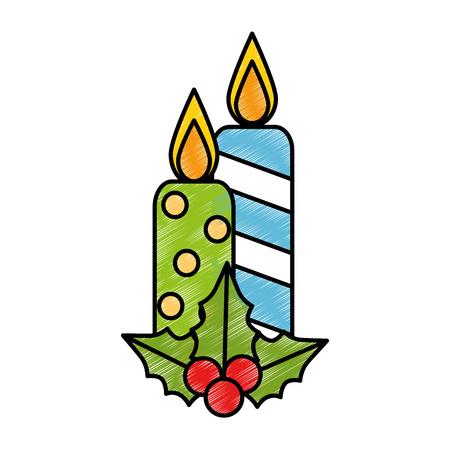 메리 크리스마스 양초 장식 벡터 일러스트 디자인