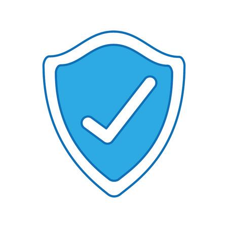 방패 체크 표시 보안 휘장 기술 벡터 일러스트 레이션을 보호 스톡 콘텐츠 - 88371183