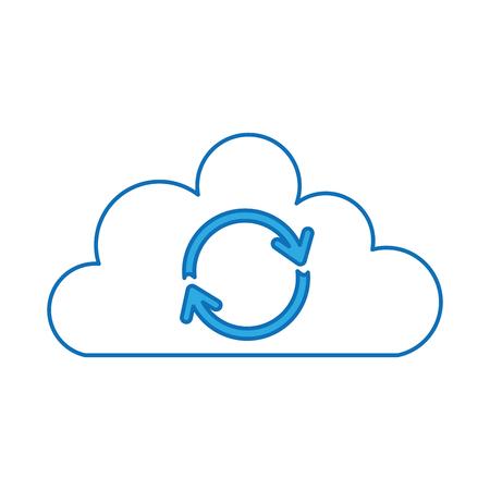 cloud sync refresh backup computing data icon vector illustration
