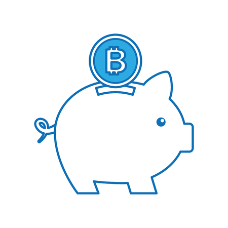 bitcoin piggy bank saving cryptocurrency money concept vector illustration