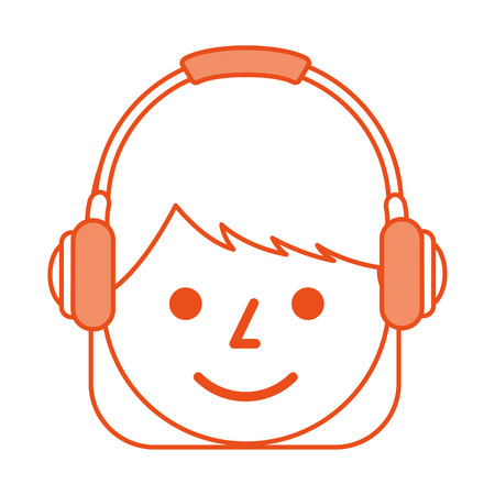 young girl smiling with headphones listen sound vector illustration