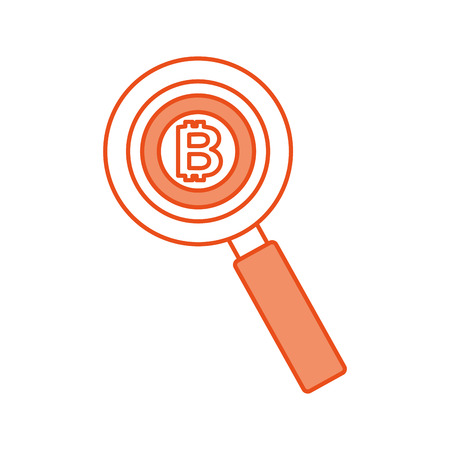 business bitcoin and magnifier currency money vector illustration