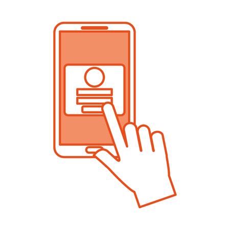 hand touch mobiele telefoon webpagina login veiligheids vectorillustratie