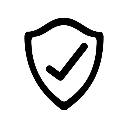 盾のチェックマークは、セキュリティの insignia 技術ベクトルイラストを保護
