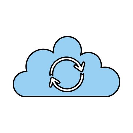 클라우드 동기화 새로 고침 백업 컴퓨팅 데이터 아이콘 벡터 일러스트 레이션