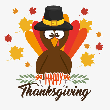 happy thanksgiving day turkey with autumn leaves vector illustration graphic design